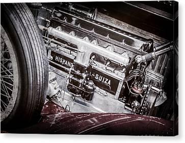 Hispano Suiza Canvas Print - 1924 Hispano-suiza H6b Dual  Cowl Sport Phaeton Engine Emblem -0258ac by Jill Reger