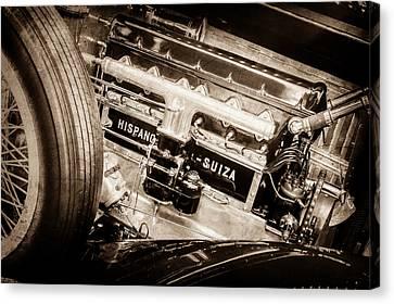 Hispano Suiza Canvas Print - 1924 Hispano-suiza H6b Dual  Cowl Sport Phaeton Engine Emblem -0258s by Jill Reger