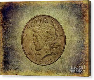 1924 Peace Silver Dollar Canvas Print by Randy Steele