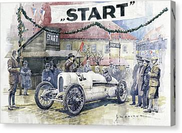 1924 Canvas Print - 1924 Zbraslav-jiloviste Regularity Ride To The Top Start Walter W-0 by Yuriy Shevchuk