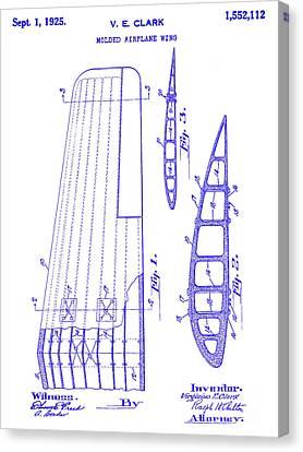 1925 Airplane Wing Patent Blueprint Canvas Print