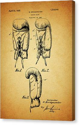 Fistfight Canvas Print - 1925 Boxing Glove Patent by Dan Sproul