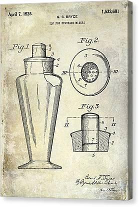 1925 Cocktail Shaker Patent  Canvas Print by Jon Neidert