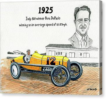 1925 Indy 500 Winner Pete Depaolo Canvas Print
