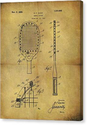 1925 Tennis Racket Patent Canvas Print by Dan Sproul