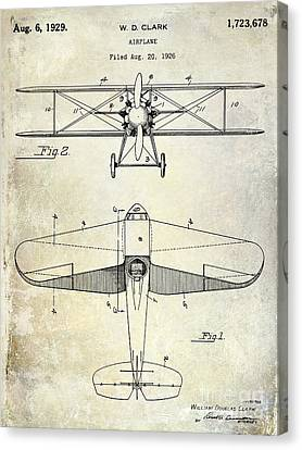 1929 Airplane Patent Canvas Print by Jon Neidert