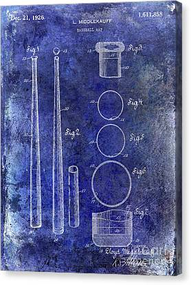 1926 Baseball Bat Patent Blue Canvas Print by Jon Neidert