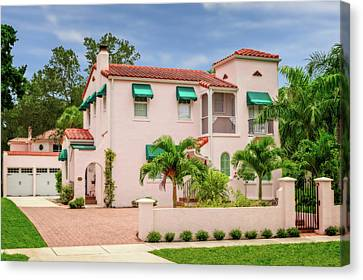 Canvas Print featuring the photograph 1926 Florida Northern Italian Renaissance Style Home  -  1926noritalrennasfl172169 by Frank J Benz