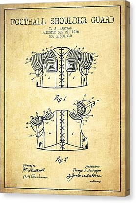 1926 Football Shoulder Guard Patent - Vintage Canvas Print by Aged Pixel