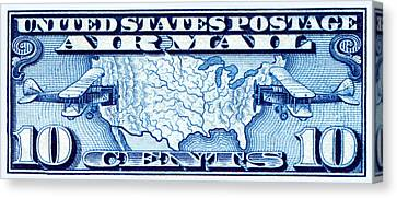1926 Us Map Mail Planes Stamp Canvas Print by Historic Image