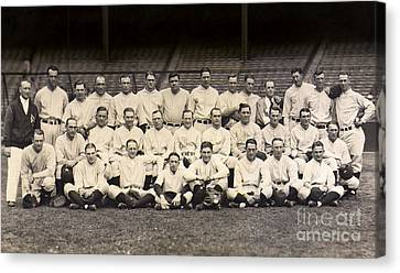 Baseball Glove Canvas Print - 1926 Yankees Team Photo by Jon Neidert