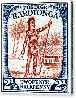 Canvas Print featuring the painting 1927 Cook Island Rarotongan Chief Stamp by Historic Image