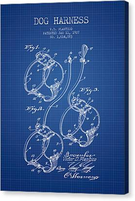 Puppy Canvas Print - 1927 Dog Harness Patent - Blueprint by Aged Pixel