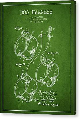 Puppy Canvas Print - 1927 Dog Harness Patent - Green by Aged Pixel