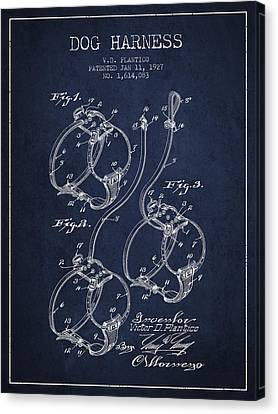 Puppy Canvas Print - 1927 Dog Harness Patent - Navy Blue by Aged Pixel