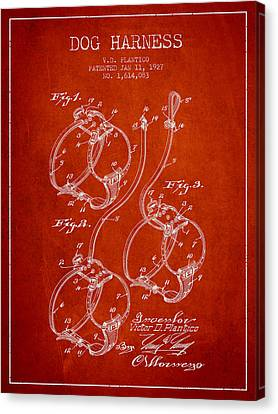 Puppy Canvas Print - 1927 Dog Harness Patent - Red by Aged Pixel