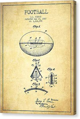 1927 Football Patent - Vintage Canvas Print by Aged Pixel