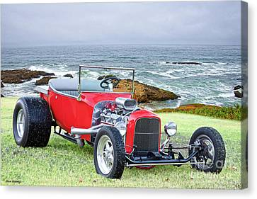 1927 Ford T Bucket Roadster 'on The Greens' Canvas Print by Dave Koontz