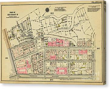 Canvas Print featuring the photograph 1927 Inwood Map  by Cole Thompson