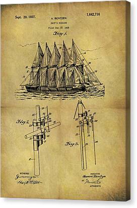1927 Sail Ship Patent Canvas Print by Dan Sproul