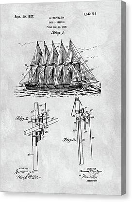 1927 Sailing Ship Patent Charcoal Canvas Print by Dan Sproul