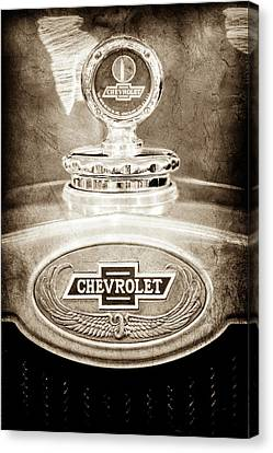 Canvas Print featuring the photograph 1928 Chevrolet 2 Door Coupe Hood Ornament Moto Meter -0789s by Jill Reger