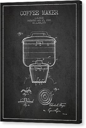 1928 Coffee Maker Patent - Charcoal Canvas Print by Aged Pixel