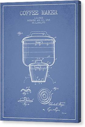 1928 Coffee Maker Patent - Light Blue Canvas Print