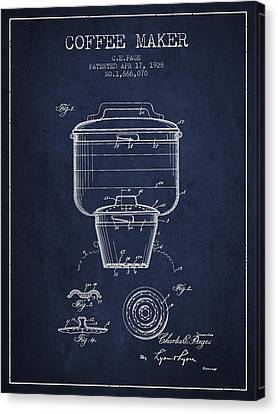 1928 Coffee Maker Patent - Navy Blue Canvas Print by Aged Pixel