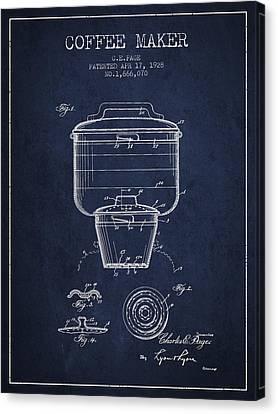 1928 Coffee Maker Patent - Navy Blue Canvas Print