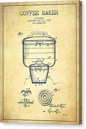 1928 Coffee Maker Patent - Vintage Canvas Print