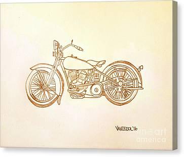 1928 Harley Davidson Motorcycle Graphite Pencil - Sepia Canvas Print