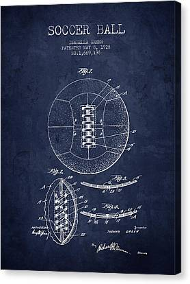 1928 Soccer Ball Patent - Navy Blue - Nb Canvas Print by Aged Pixel