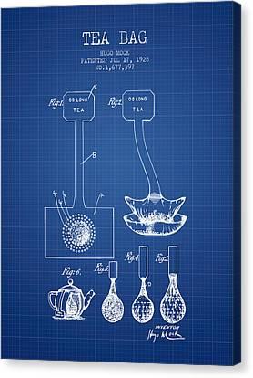 Bistro Canvas Print - 1928 Tea Bag Patent 02 - Blueprint by Aged Pixel