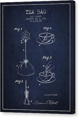 1928 Tea Bag Patent - Navy Blue Canvas Print by Aged Pixel
