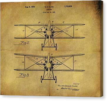 1929 Airplane Patent Vintage Canvas Print by Dan Sproul