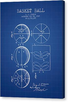 Nba Drawings Canvas Print - 1929 Basket Ball Patent - Blueprint by Aged Pixel