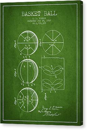 1929 Basket Ball Patent - Green Canvas Print by Aged Pixel
