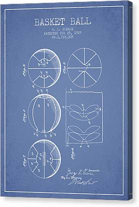 1929 Basket Ball Patent - Light Blue Canvas Print by Aged Pixel