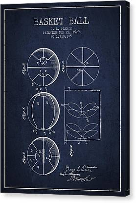 1929 Basket Ball Patent - Navy Blue Canvas Print by Aged Pixel