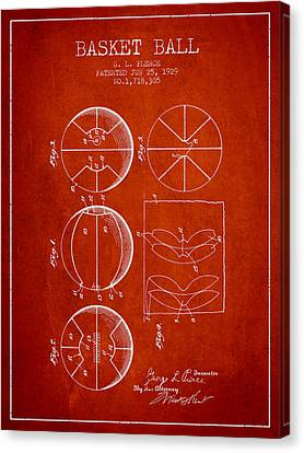 1929 Basket Ball Patent - Red Canvas Print by Aged Pixel