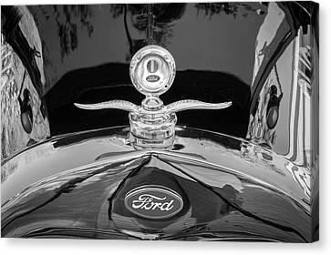 1929 Ford Model A Hood Ornament Bw Canvas Print by Rich Franco