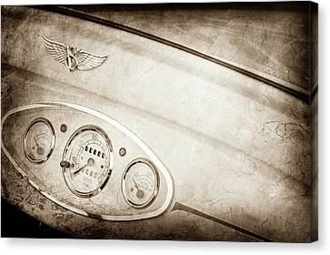 1929 Ford Model A Roadster Dashboard Emblem -0048s Canvas Print by Jill Reger