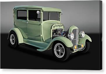 1929 Ford Model A Tudor Sedan  -  29fdsedgry9769 Canvas Print by Frank J Benz