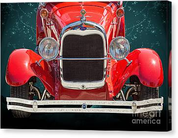 1929 Ford Phaeton Classic Car Front End Antique In Red Color 351 Canvas Print by M K  Miller