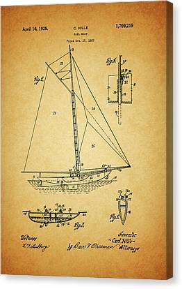 1929 Sailboat Patent Canvas Print