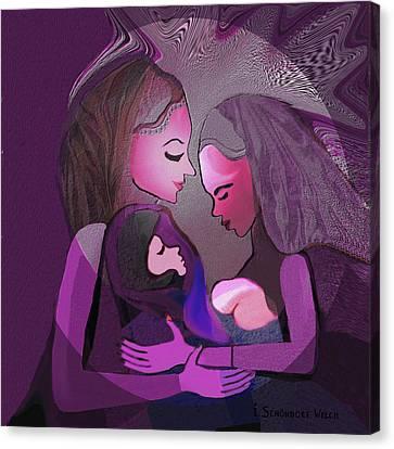 193 - Women -  Child   Canvas Print by Irmgard Schoendorf Welch
