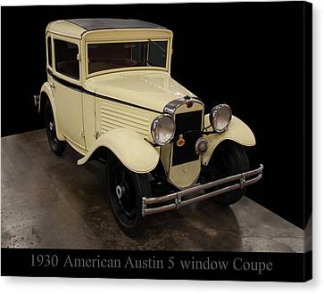 Canvas Print featuring the digital art 1930 American Austin 5 Window Coupe by Chris Flees