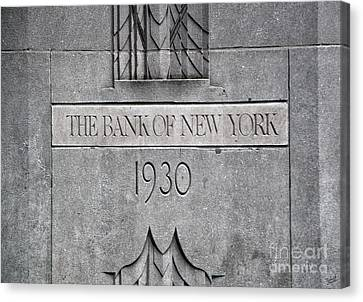 1930 Bank Of New York Sign Canvas Print by Nishanth Gopinathan