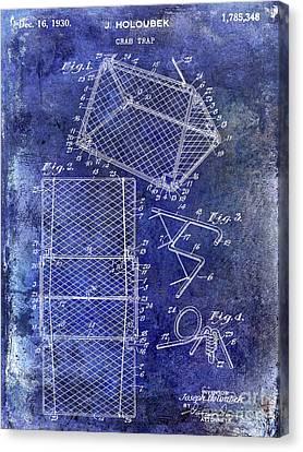 1930 Crab Trap Patent Blue Canvas Print by Jon Neidert